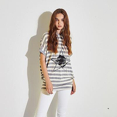 Hana+花木馬 灰白條紋星星印花親膚棉製POLO衫造型長版上衣-灰