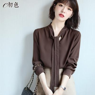 初色  時尚刺繡飄帶襯衫-咖啡色-(M-2XL可選)