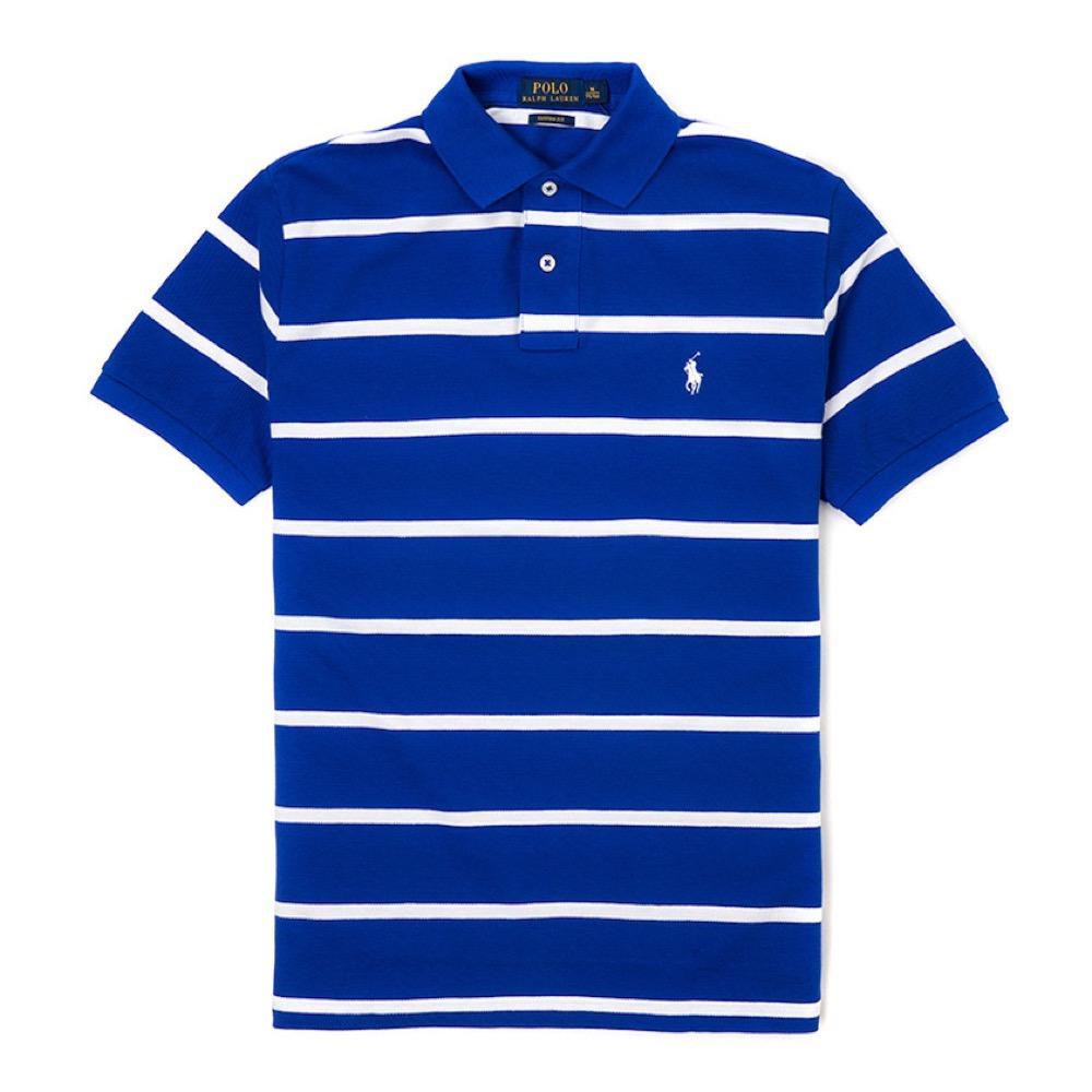 Polo Rlaph Lauren 經典小馬條紋Polo衫(Custom)-寶藍色