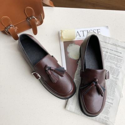 KEITH-WILL時尚鞋館 女神同款輕便生活粗跟皮鞋 黑