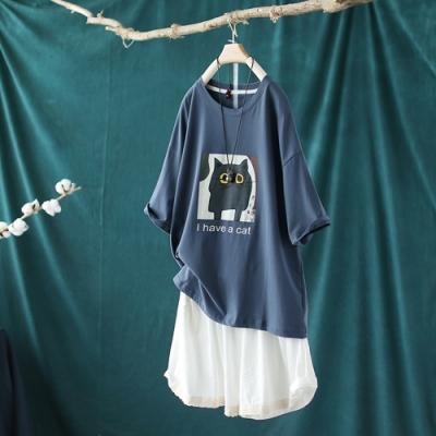 純棉印花短袖T恤寬鬆大碼顯瘦韓版上衣-設計所在