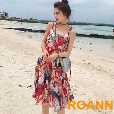中國風仕女印花V領吊帶雪紡洋裝 (花色)-ROANN