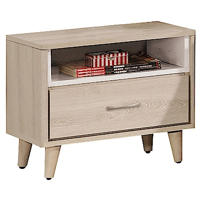文創集 帕德頓時尚1.7尺木紋床頭櫃/收納櫃-52x40x50cm免組