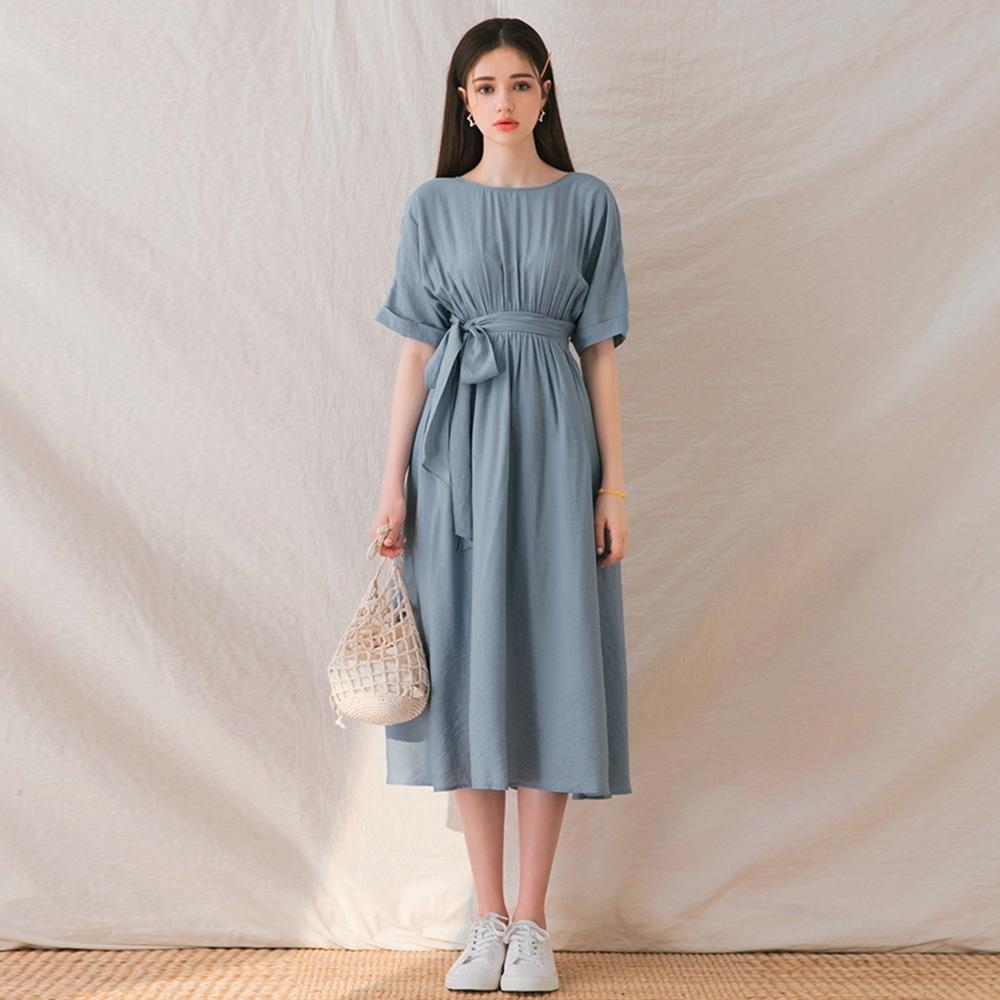 AIR SPACE LADY 美背綁帶棉質長洋裝(藍)