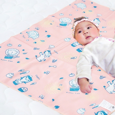 奶油獅 森林野餐ADVANTA超防水止滑保潔墊/尿布墊(嬰兒)75x90cm粉紅
