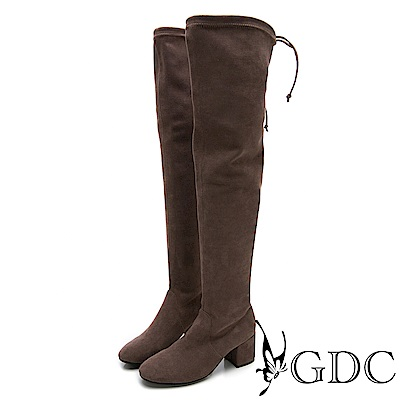 GDC-秋冬不敗款辣妹瘦腿膝上綁帶長筒靴-灰色