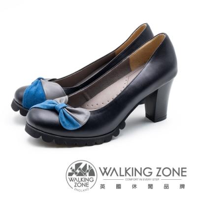 WALKING ZONE 拼接蝴蝶結 粗跟高跟鞋 女鞋 - 黑(另有棕)