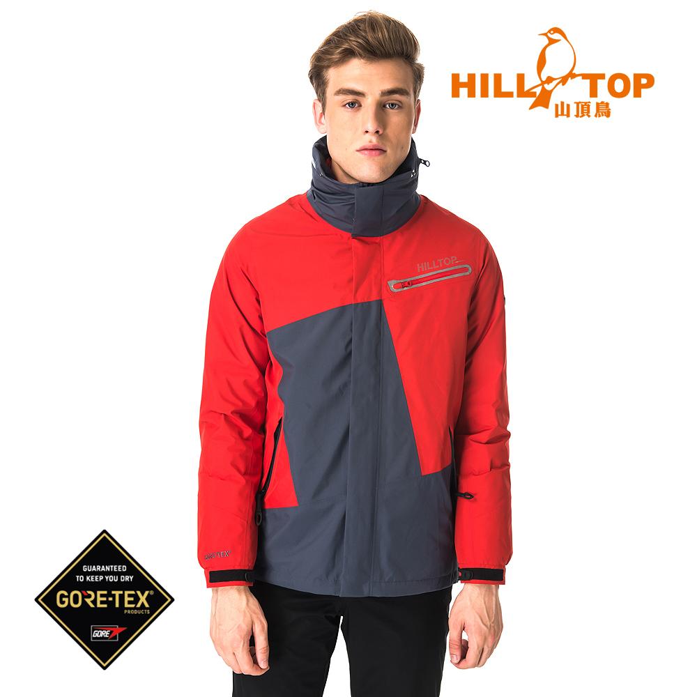 【hilltop山頂鳥】男款GORETEX兩件式防水羽絨短大衣F22MY0龐貝紅