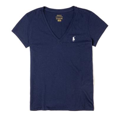Polo Ralph Lauren 經典小馬V領素面短袖T恤(女)-深藍色