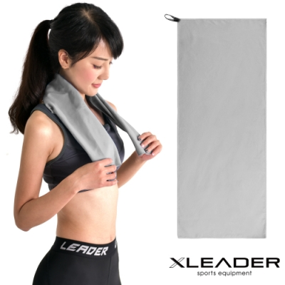 Leader X 超細纖維 吸水速乾運動毛巾 淺灰-急