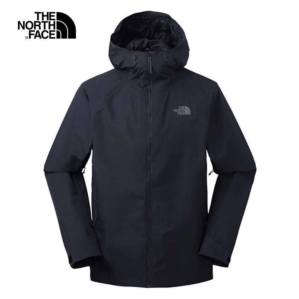 The North Face北面男款黑色防水透氣連帽衝鋒衣 3O87CGW