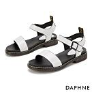 達芙妮DAPHNE 涼鞋-一字寬帶繞踝漆皮低跟涼鞋-白