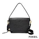 FOSSIL Maya 俐落簡約真皮可加大側背/肩背兩用包-黑色