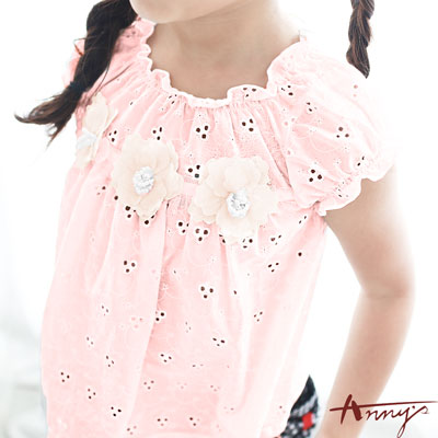 Annys立體抓摺領蕾絲立體珍珠花朵短袖上衣*7165粉