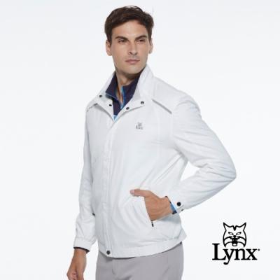 【Lynx Golf】男款防潑水防風保暖內刷毛3M反光印花長袖外套-白色