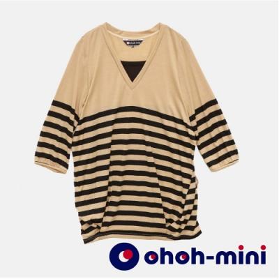 【ohoh-mini孕婦裝】時尚剪裁條紋孕婦上衣