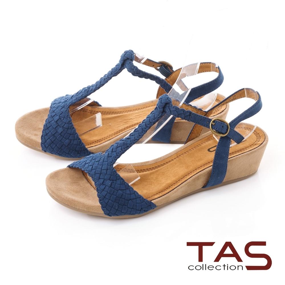 TAS編織T字繫帶楔型涼鞋-深海藍