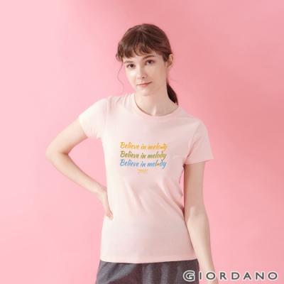 GIORDANO 女裝MUSIC系列印花短袖T恤- 11 女郎粉