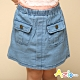 Azio 女童 短裙 造型雙口袋牛仔A字短裙內附安全褲(藍) product thumbnail 1