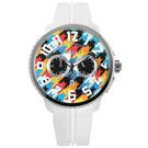 Tendence 天勢表 立體刻度三眼計時防水矽膠手錶-彩色x白/51mm