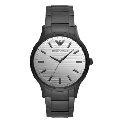 EMPORIO ARMANI 條紋鏡面時尚腕錶-黑X銀(AR11259)43mm