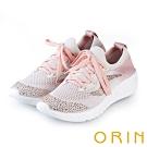 ORIN 潮流時尚風 飛織布面燙鑽綁帶休閒鞋-粉紅