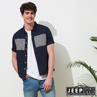 JEEP 文青造型復古短袖襯衫-深藍色