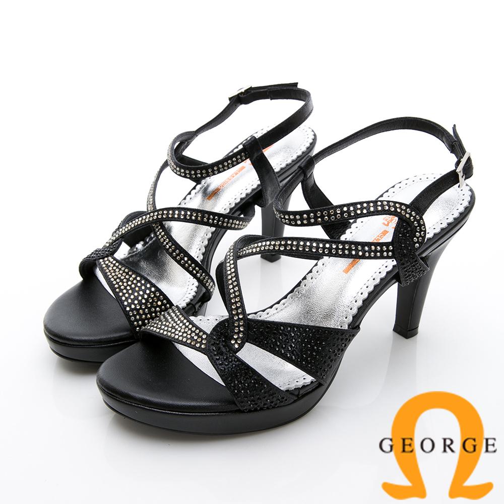 【GEORGE 喬治皮鞋】婚鞋系列 璀璨水鑽飾釦高跟涼鞋-黑