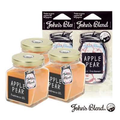 John's Blend 室內香氛擴香膏x3入+香氛掛片x2入組(蘋果甜梨)