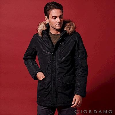 GIORDANO 男裝鋪棉收腰長版多口袋連帽外套-97 迷彩黑