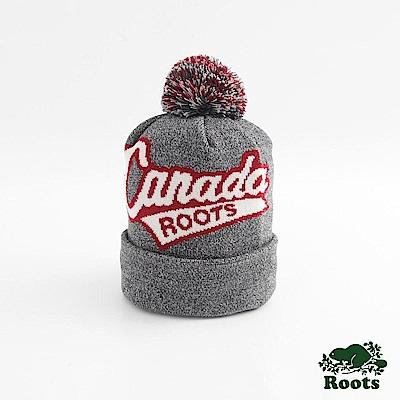 Roots配件- 加拿大系列毛球針織帽-灰