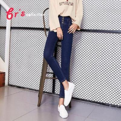 【brs】韓系高腰背交叉排扣窄管丹寧褲