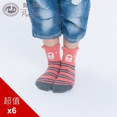 貝柔趣味立體止滑童短襪-森林呆熊(6雙組)