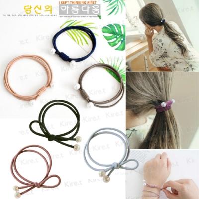 韓國手工打結珍珠髮圈 超值8入 雙層自然打結+三層唯美繞圈 髮束橡皮筋綁頭髮 Kiret (顏色隨機)