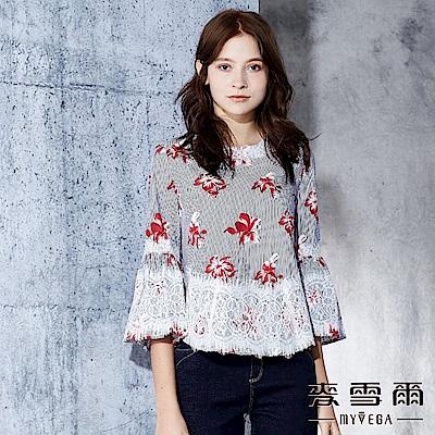 【麥雪爾】棉質宮廷風蕾絲印花上衣