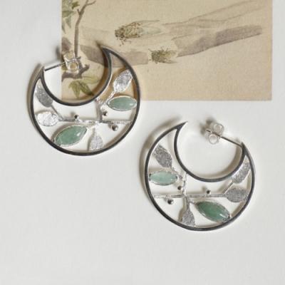 東方美學古典優美純銀鑲嵌東陵玉葉子耳墜-設計所在
