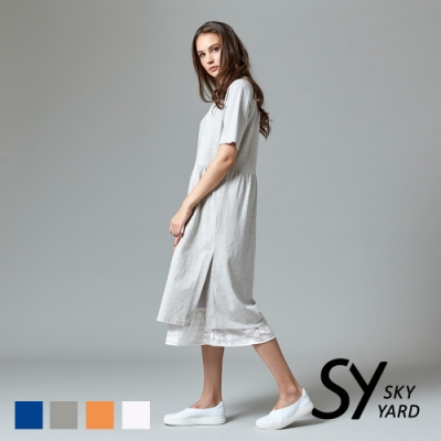 【SKY YARD 天空花園】都會悠閒風下擺拚接蕾絲短袖長洋裝-深灰
