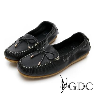 GDC-真皮舒適素色基本蝴蝶結綁帶休閒鞋-黑色