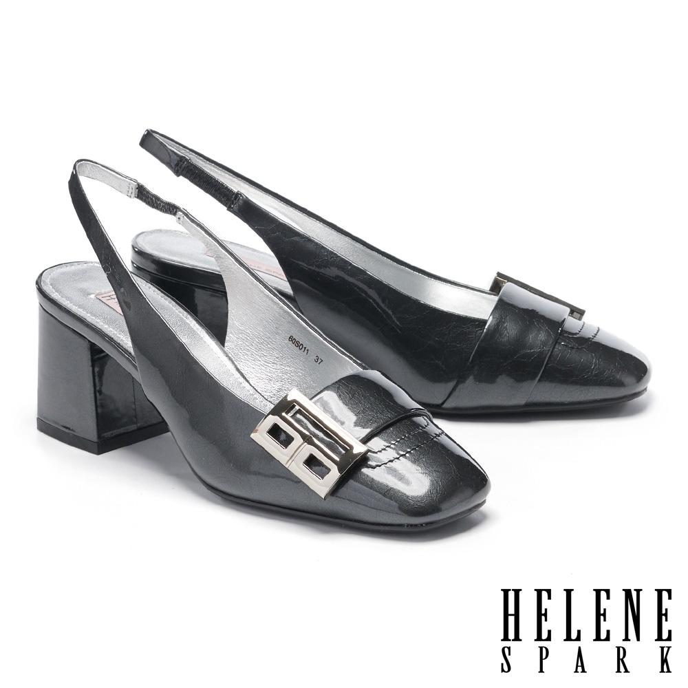 高跟鞋 HELENE SPARK 復古時尚造型方釦後繫帶粗高跟鞋-黑