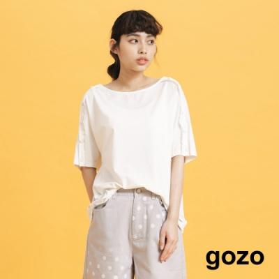 gozo-圓點扣子裝飾袖上衣-(三色)