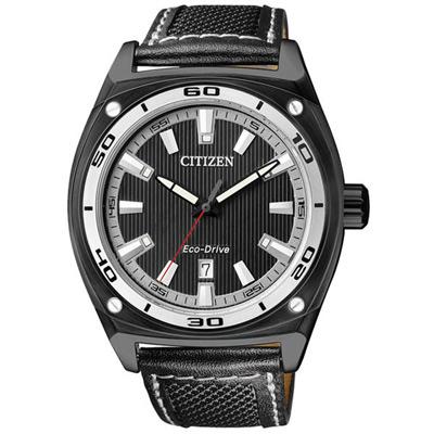 CITIZEN 白領時尚光動能都會腕錶(AW1050-01E)-皮帶/黑