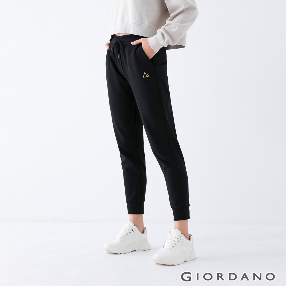 GIORDANO 女裝素色彈性束口褲 - 09 標誌黑