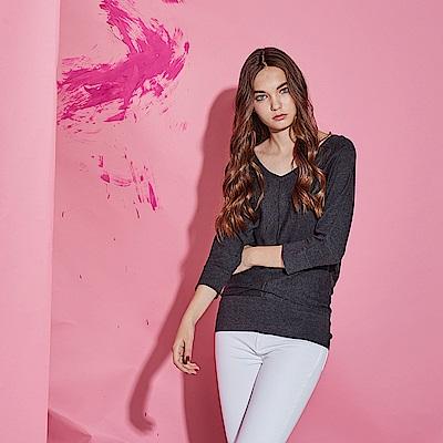 Chaber巧帛 簡約百搭V領100%棉紗七分袖針織造型上衣-灰(共2色)
