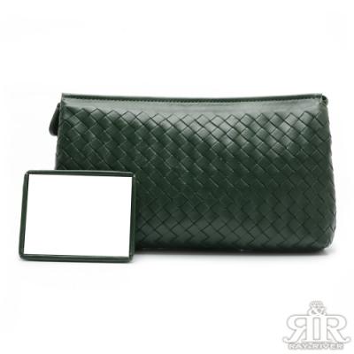 2R 頂級訂製NAPPA羊皮柔感單肩梭織兩用包 墨綠