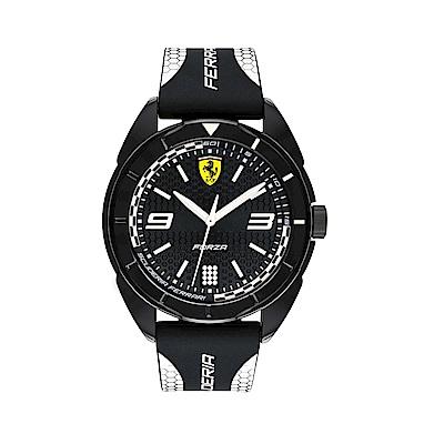 FERRARI 輪胎紋大三針橡膠時尚腕錶/白/0830519