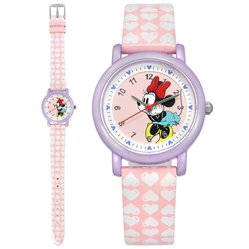 Disney 迪士尼 米奇系列 米妮面板 兒童錶 卡通錶 亮面皮革手錶-粉x紫/29mm