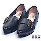 ee9 潮流指標尖頭尚金屬飾扣百搭平底鞋 黑色