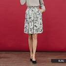 【KiKi】上班族系列氣質花卉-短裙(藍色)