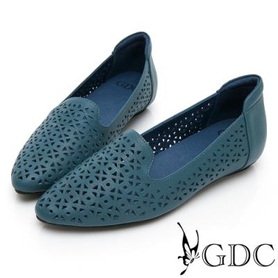GDC-文青氣質質感簍空雕花真皮平底包鞋-藍色
