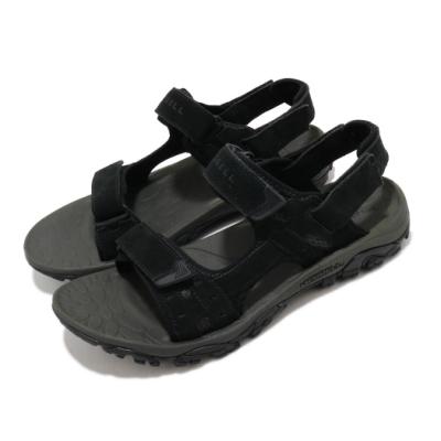 Merrell 涼鞋 Moab Drift 2 Strap 男鞋 避震墊片 麂皮 魔鬼氈 耐磨 抓地 黑 灰 ML033121